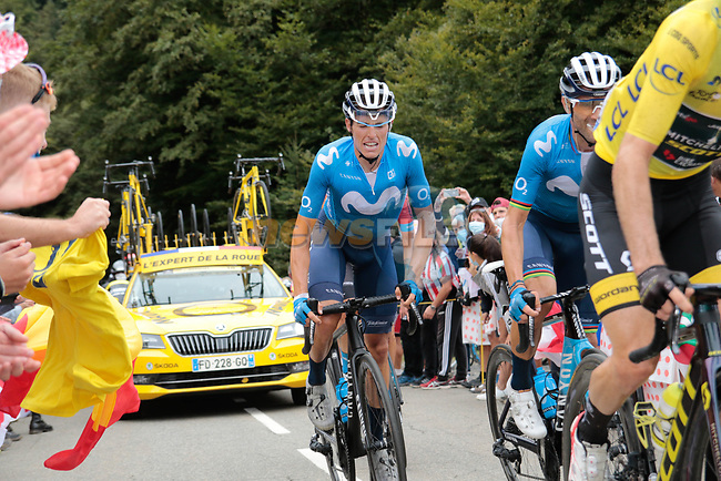 Enric Mas Nicolau and Alejandro Valverde (ESP) Movistar Team climb Col de Marie Blanque during Stage 9 of Tour de France 2020, running 153km from Pau to Laruns, France. 6th September 2020. <br /> Picture: Colin Flockton | Cyclefile<br /> All photos usage must carry mandatory copyright credit (© Cyclefile | Colin Flockton)