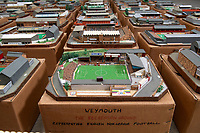 BNPS.co.uk (01202 558833)<br /> Pic: Zachary Culpin/BNPS<br /> <br /> Pictured: The old Weymouth FC Recreation Ground<br /> <br /> An incredible collection of model football stadiums handmade by a soccer fan have sold for almost £19,000 after being found in a storage unit.<br /> <br /> Model-maker John Le Maitre created miniature versions of all 92 English Football League club grounds from the 1980s, as well as the old Wembley Stadium.<br /> <br /> They featured on a Blue Peter episode that year and are a throwback to a bygone age when football grounds with their banks of terraces looked very different to today's super stadiums.