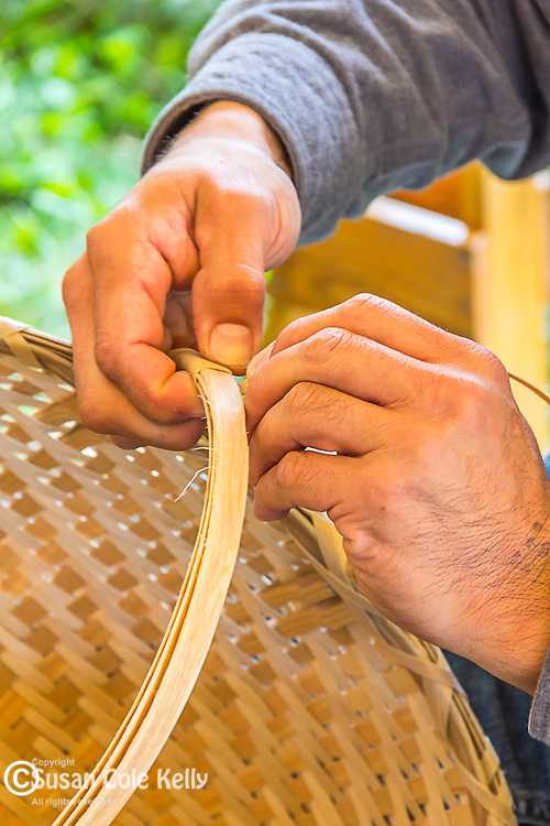 A traditional basketmaker at the Common Ground Fair in Unity, Maine, USA