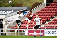 10th October 2020; Sixfields Stadium, Northampton, East Midlands, England; English Football League One, Northampton Town versus Peterborough United; Sam Hoskins wins a clearing header.