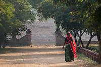 woman with red Saree at Castle Kanota, Jaipur