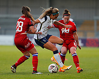 Shelina Zadorsky of Tottenham and Lily Woodham and Emma Mitchell of Reading battle for the ball  during Tottenham Hotspur Women vs Reading FC Women, Barclays FA Women's Super League Football at the Hive Stadium on 7th November 2020