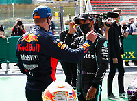 29th August 2020, Spa Francorhamps, Belgium, F1 Grand Prix of Belgium , qualification;   33 Max Verstappen NLD, Aston Martin Red Bull Racing congratulates 44 Lewis Hamilton GBR, Mercedes-AMG Petronas Formula One Team taking pole