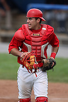 Batavia Muckdogs catcher Geoffrey Klein (32) during a game vs. the State College Spikes at Dwyer Stadium in Batavia, New York June 27, 2010.   State College defeated Batavia 4-2.  Photo By Mike Janes/Four Seam Images