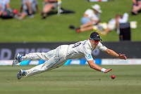 NZ's Neil Wagner fields during day one of the international cricket 1st test match between NZ Black Caps and England at Bay Oval in Mount Maunganui, New Zealand on Thursday, 21 November 2019. Photo: Dave Lintott / lintottphoto.co.nz
