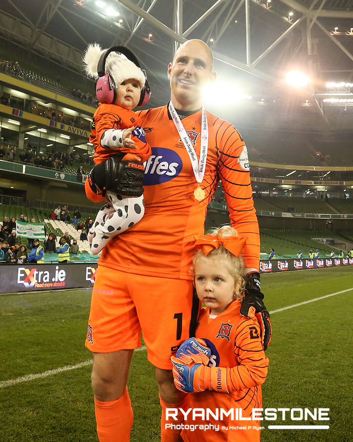 Gary Rogers and his children at the end of the  Irish Daily Mail FAI Cup Final between Dundalk and Cork City, on Sunday 4th November 2018, at the Aviva Stadium, Dublin. Mandatory Credit: Michael P Ryan.