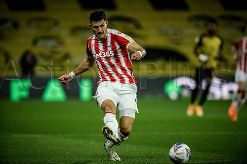 4th November 2020; Vicarage Road, Watford, Hertfordshire, England; English Football League Championship Football, Watford versus Stoke City; Danny Batth in shooting action for Stoke City.