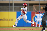Clearwater Threshers Herlis Rodriguez (27) running the bases during a game against the Dunedin Blue Jays on April 8, 2017 at Florida Auto Exchange Stadium in Dunedin, Florida.  Dunedin defeated Clearwater 12-6.  (Mike Janes/Four Seam Images)