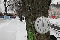 orologio su albero in paesaggio innevato.. indica mezzogiorno