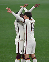 Football: Europa League - quarter final 2nd leg AS Roma vs Ajax, Olympic Stadium. Rome, Italy, March 15, 2021.<br /> Roma's Amadou Diawara (L) and Gonzalo Villar (R) celebrate at the end of the Europa League quarter final 2nd leg football match between Roma at Rome's Olympic stadium, Rome, on April 15, 2021.  <br /> UPDATE IMAGES PRESS/Isabella Bonotto
