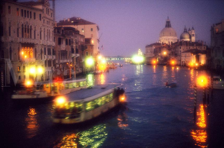 Italy, Venice, The Grand Canal and Santa Maria della Salute with vaporetto traffic