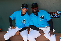 Miami Marlins Victor Mesa Jr. (L) and Lazaro Alonso (R) before an Instructional League game against the Washington Nationals on September 25, 2019 at Roger Dean Chevrolet Stadium in Jupiter, Florida.  (Mike Janes/Four Seam Images)