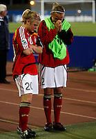Dejected Germany players Leonie Maier and Angelina Luebcke..FIFA U17 Women's World Cup, Semi Final, Germany v USA, QEII Stadium, Christchurch, New Zealand, Thursday 13 November 2008. Photo: Renee McKay/PHOTOSPORT