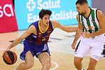 League ACB-ENDESA 2020/2021.Game 15.<br /> FC Barcelona vs Club Joventut Badalona: 88-74.<br /> Leandro Bolmaro vs Albert Ventura.