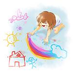Illustration of girl drawing on floor