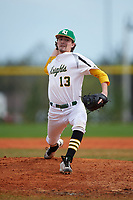 Community College of Rhode Island Knights pitcher Jack Livingston (13) delivers a pitch during a game against the Genesee Community College Cougars on March 20, 2016 at Lake Myrtle Park in Auburndale, Florida.  CCRI defeated Genesee 23-4.  (Mike Janes/Four Seam Images)