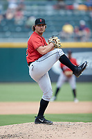 Indianapolis Indians relief pitcher Josh Smoker (43) in action against the Charlotte Knights at BB&T BallPark on August 22, 2018 in Charlotte, North Carolina.  The Indians defeated the Knights 6-4 in 11 innings.  (Brian Westerholt/Four Seam Images)
