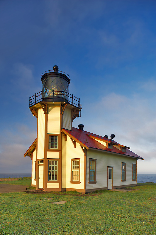 Point Cabrillo Lighthouse with sunrise. California