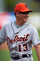 Detroit Tigers coach Omar Vizquel (13) during the lineup exchange before a Spring Training game against the New York Yankees on March 2, 2016 at George M. Steinbrenner Field in Tampa, Florida.  New York defeated Detroit 10-9.  (Mike Janes/Four Seam Images)