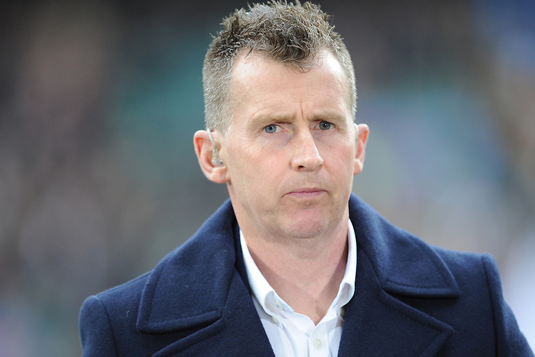 International referee Nigel Owens commentates for S4C during the Guinness Six Nations match between England and Wales at Twickenham Stadium on Saturday 7th March 2020 (Photo by Rob Munro/Stewart Communications)