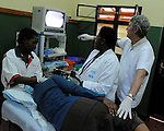 An endoscopy procedure overseen by a visiting Belgian doctor at  Gisenyi District Hospital,.Northwest Rwanda....