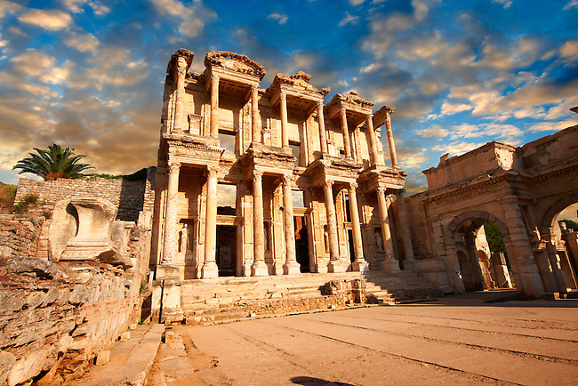 Image of The library of Celsusat sunrise . Images of the Roman ruins of Ephasus, Turkey. Stock Picture & Photo art prints