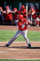 Manuel Guzman (12) of the Orem Owlz bats against the Ogden Raptors at Lindquist Field on September 10, 2017 in Ogden, Utah. Ogden defeated Orem 9-4. (Stephen Smith/Four Seam Images)