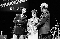 September 14,1985 File Photo - Pierre-Marc Johnson, Francine Lalonde and Pauline Marois <br /> take part in a debate between all candidates in the Parti Quebecois leadership race which was eventually won by Pierre-Marc Johnson