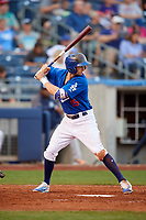 Tulsa Drillers shortstop Tim Locastro (15) at bat during a game against the Corpus Christi Hooks on June 3, 2017 at ONEOK Field in Tulsa, Oklahoma.  Corpus Christi defeated Tulsa 5-3.  (Mike Janes/Four Seam Images)
