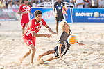 GOTO Takasuke of Japan competes for the ball with AL ARAIMI Mandhar Hilal Hamed of Oman during the Beach Soccer Men's Team Gold Medal Match between Japan and Oman on Day Nine of the 5th Asian Beach Games 2016 at Bien Dong Park on 02 October 2016, in Danang, Vietnam. Photo by Marcio Machado / Power Sport Images