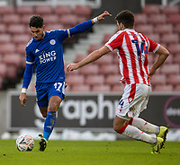 9th January 2021; Bet365 Stadium, Stoke, Staffordshire, England; English FA Cup Football, Carabao Cup, Stoke City versus Leicester City; Ayoze Perez of Leicester City takes a shot on goal past Tommy Smith of Stoke City