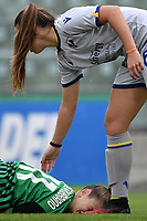 Valeria Monterubbiano of Sassuolo reacts after a foul as Sofia Meneghini of Hellas Verona apologizes with her during the women Serie A football match between US Sassuolo and Hellas Verona at Enzo Ricci stadium in Sassuolo (Italy), November 15th, 2020. Photo Andrea Staccioli / Insidefoto