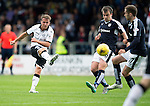 Dundee v St Johnstone...15.08.15  SPFL   Dens Park, Dundee<br /> Chris Millar's shot is blocked<br /> Picture by Graeme Hart.<br /> Copyright Perthshire Picture Agency<br /> Tel: 01738 623350  Mobile: 07990 594431