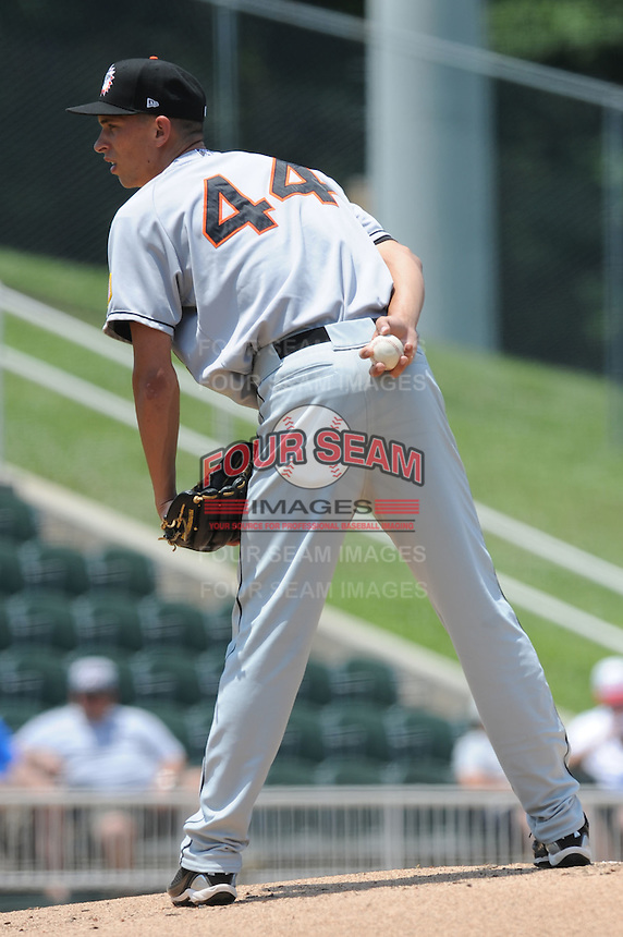Hagerstown Suns A.J. Cole #44 delivers a pitch during a game against the Kannapolis Intimidators at Fieldcrest Cannon Stadium in Kannapolis,  North Carolina;  May 30, 2011.  The Intimidators won the game 3-0.  Photo By Tony Farlow/Four Seam Images
