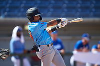 Inland Empire 66ers Jordyn Adams (9) follows through on his swing during a California League game against the Rancho Cucamonga Quakes at LoanMart Field on September 2, 2019 in Rancho Cucamonga, California. Rancho Cucamonga defeated Inland Empire 4-3. (Zachary Lucy/Four Seam Images)