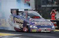 Mar. 9, 2012; Gainesville, FL, USA; NHRA funny car driver Tony Pedregon during qualifying for the Gatornationals at Auto Plus Raceway at Gainesville. Mandatory Credit: Mark J. Rebilas-