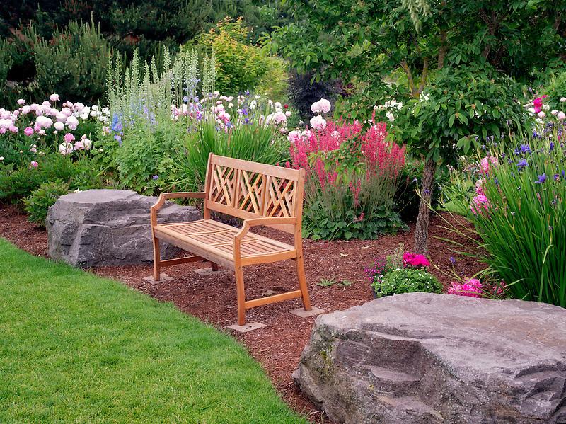 Peony garden and bench. Adleman Peony Garden, Salem, Oregon