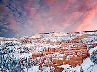 Snow and sunset in Bryce Canyon National Park, Utah
