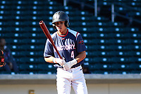 Harold Coll (4) of Cathedral High School in Hyde Park, Massachusettes during the Baseball Factory All-America Pre-Season Tournament, powered by Under Armour, on January 13, 2018 at Sloan Park Complex in Mesa, Arizona.  (Freek Bouw/Four Seam Images)