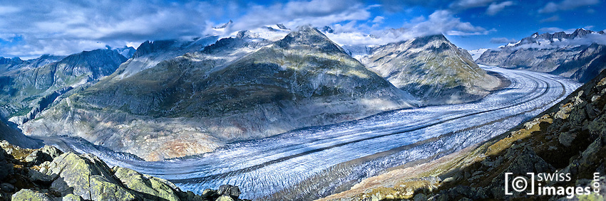 Vue depuis le Bettmerhorn (2677m) sur le glacier d'Aletsch/Suisse