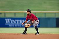 AZL Diamondbacks second baseman Eddie Hernandez (2) on defense against the AZL Cubs on August 11, 2017 at Sloan Park in Mesa, Arizona. AZL Cubs defeated the AZL Diamondbacks 7-3. (Zachary Lucy/Four Seam Images)
