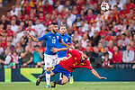 Lorenzo Insigne (L) of Italy fights for the ball with Daniel Carvajal (R) of Spain during their 2018 FIFA World Cup Russia Final Qualification Round 1 Group G match between Spain and Italy on 02 September 2017, at Santiago Bernabeu Stadium, in Madrid, Spain. Photo by Diego Gonzalez / Power Sport Images