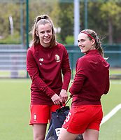 Sophie Cobussen (22) of Standard and Elien Nelissen (15) of Standard pictured before a female soccer game between Oud Heverlee Leuven and Standard femina de liege on the 5 th matchday of play off 1 in the 2020 - 2021 season of Belgian Womens Super League , saturday 8 th of May 2021  in Heverlee , Belgium . PHOTO SPORTPIX.BE | SPP | SEVIL OKTEM