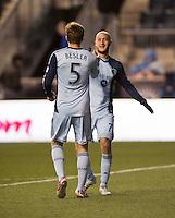Aurelien Collin, Matt Besler.  Sporting Kansas City defeated Philadelphia Union, 3-1. at PPL Park in Chester, PA.