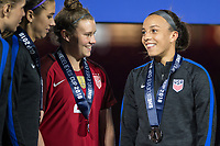 Orlando, FL - Wednesday March 07, 2018: Savannah McCaskill, Mallory Pugh celebrate winning the She Believes Tournament during the She Believes Final Cup Match featuring USA Women's National Team vs. Englands Women's National Team