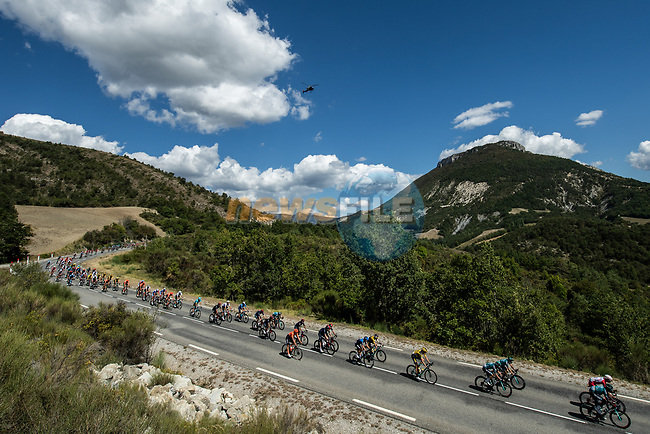 The peloton take it easy during Stage 5 of Tour de France 2020, running 183km from Gap to Privas, France. 2nd September 2020.<br /> Picture: ASO/Alex Broadway | Cyclefile<br /> All photos usage must carry mandatory copyright credit (© Cyclefile | ASO/Alex Broadway)
