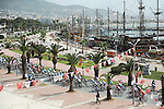 The peloton roll out of Alanya for the start of Stage 2 of the 2015 Presidential Tour of Turkey running 182km from Alanya to Antalya. 27th April 2015.<br /> Photo: Tour of Turkey/Stiehl Photography/Mario Stiehl/www.newsfile.ie