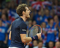 Gent, Belgium, November 27, 2015, Davis Cup Final, Belgium-Great Britain, Second match, Andy Murray (GBR) screems it out in his match against Ruben Bemelmans<br /> Photo: Tennisimages/Henk Koster