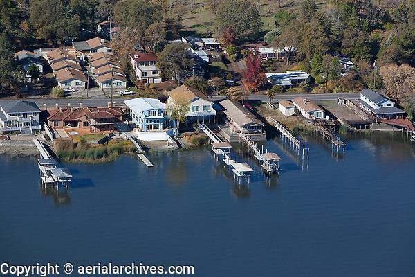 aerial photograph of Lakeshore Drive waterfront properties, Lakeport, Lake County, California