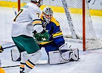 26 January 2019: Merrimack College Warrior Goaltender Logan Halladay, a Sophomore from Cary, NC, makes a third period save against the University of Vermont Catamounts at Gutterson Fieldhouse in Burlington, Vermont. The Warriors fell to the Catamounts 4-3 in overtime after tying up the game in the dyeing seconds of the third period of their America East conference game. Mandatory Credit: Ed Wolfstein Photo *** RAW (NEF) Image File Available ***